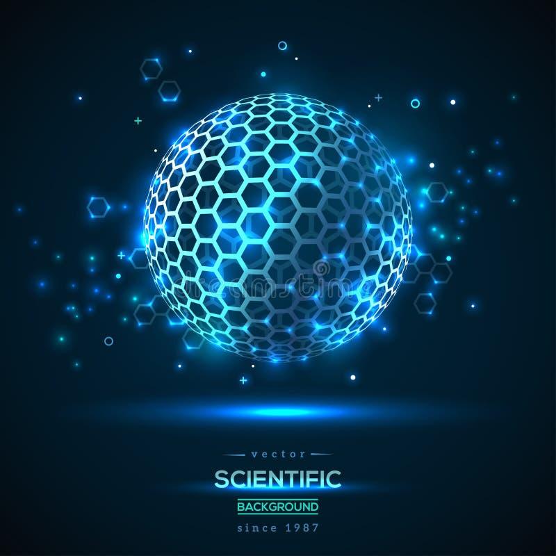 Fullerene géométrique abstrait de particules illustration de vecteur