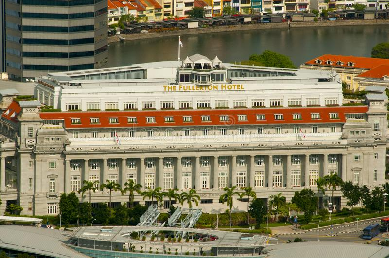 The Fullerton Hotel is a five-star luxury hotel opened in 1928 stock photos