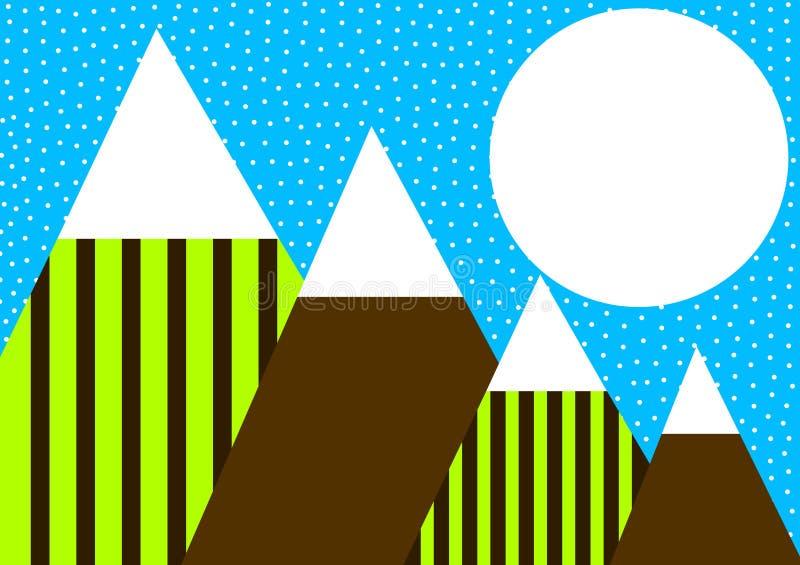 Fullmåne över berghälsningkort stock illustrationer