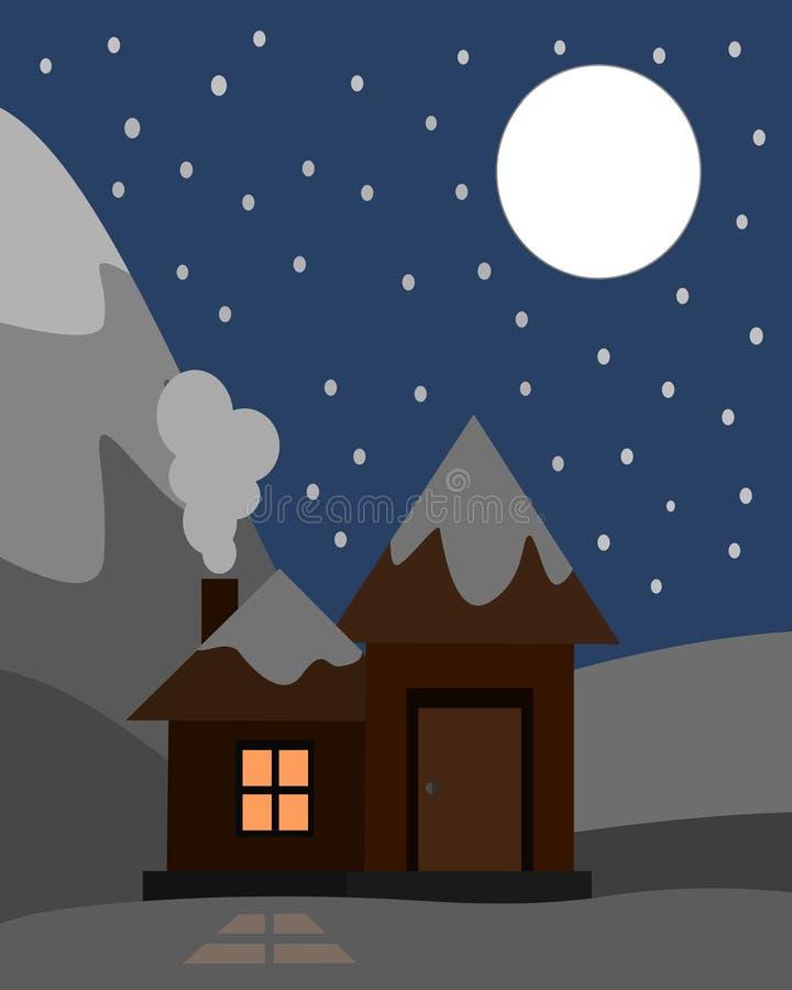 Fullmåne för julnatt med huset vektor illustrationer