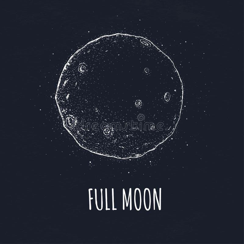 Fullmåne i yttre rymd med mån- krater Dragen vektorillustration för logo hand på svart bakgrund royaltyfri illustrationer