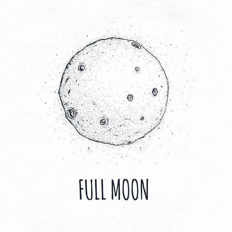 Fullmåne i yttre rymd med mån- krater Dragen vektorillustration för logo hand på vit bakgrund royaltyfri illustrationer