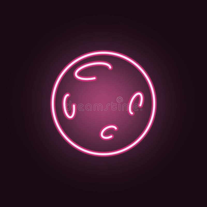Fullmåne i yttre rymd med neonsymbolen för mån- krater Best?ndsdelar av utrymmeupps?ttningen Enkel symbol f?r websites, reng?ring royaltyfri illustrationer
