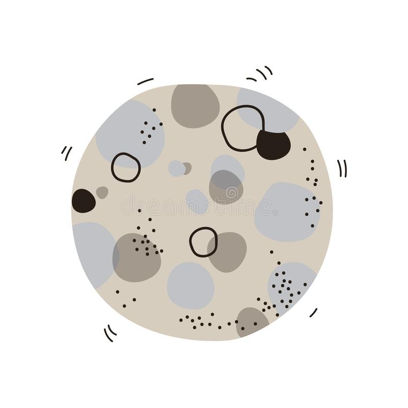 Fullmåne med krater, utrymme, illustration för vektor för tecknad film för beståndsdel för kosmostemadesign royaltyfri illustrationer