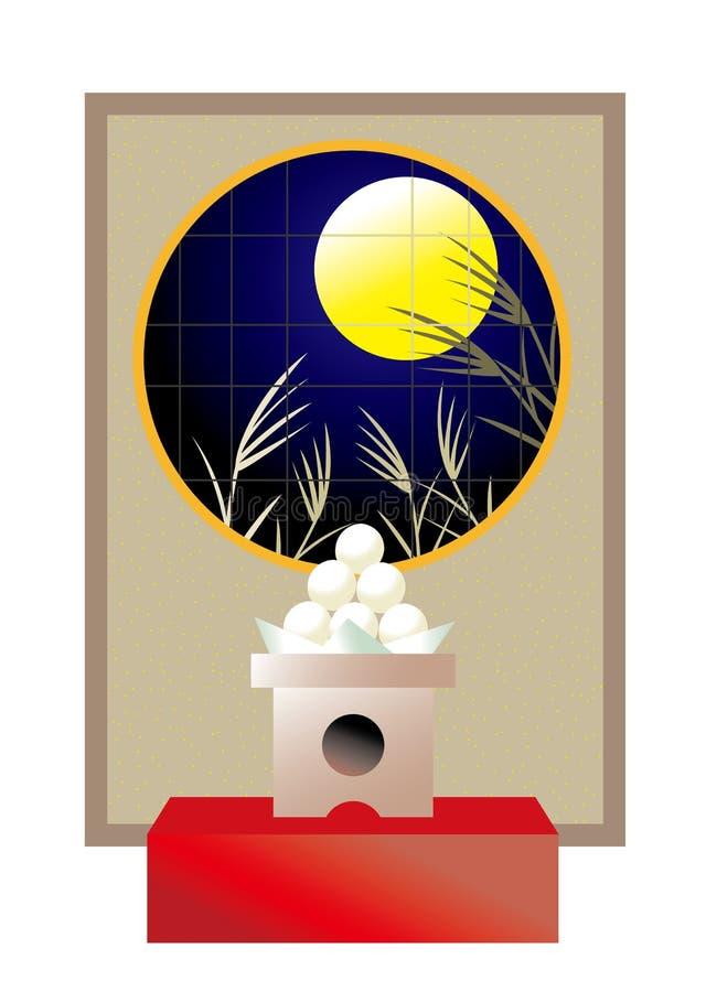 Fullmåne närmast höstdagjämningenbakgrundsbild på Japan vektor illustrationer