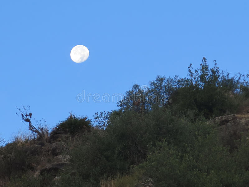 Fullmåne och kullar royaltyfri fotografi
