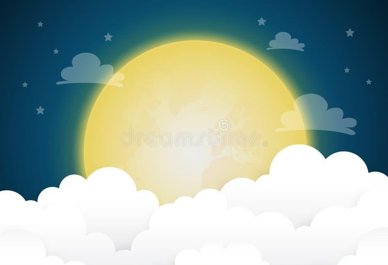 Fullmåne och stjärnor i midnatt stock illustrationer