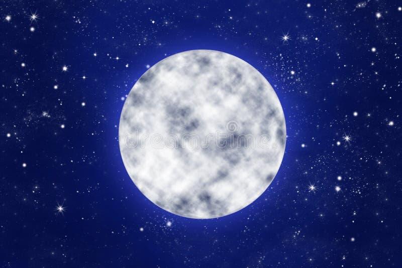 Fullmåne på blå natthimmel med stjärnor stock illustrationer