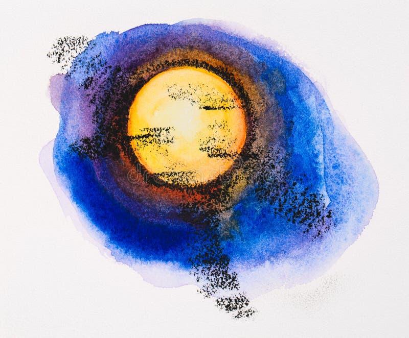 Fullmåne på den midnatta skyen stock illustrationer