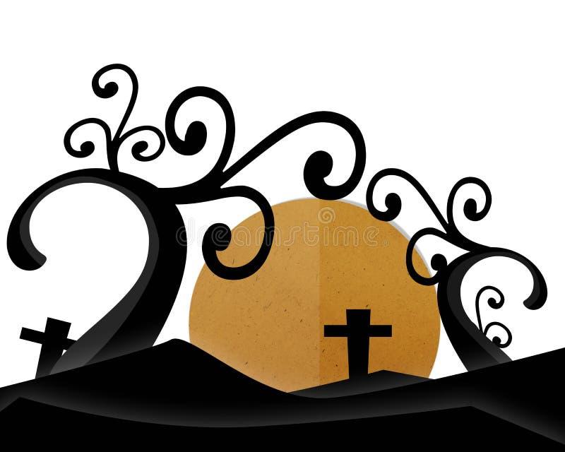 Fullmåne på kyrkogården i allhelgonaaftonnatt royaltyfri illustrationer