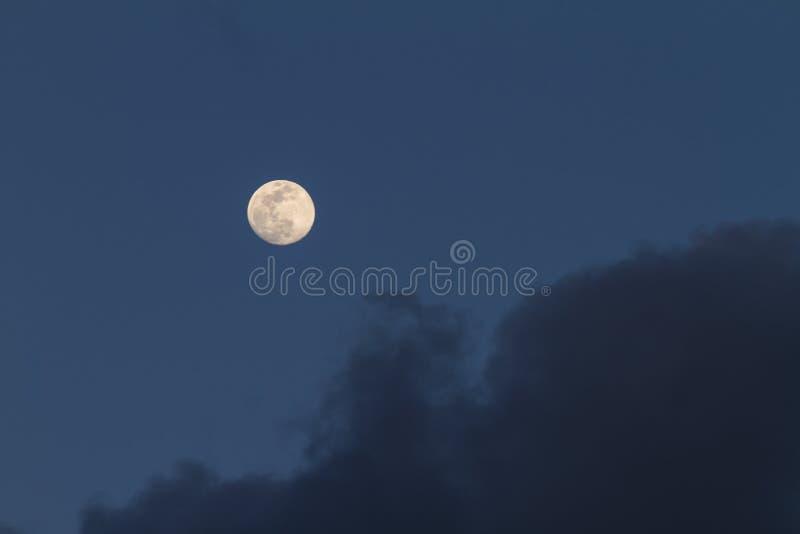 Fullmåne som precis är uppstigen i det mörkt - blå himmel med några gråa moln royaltyfri fotografi