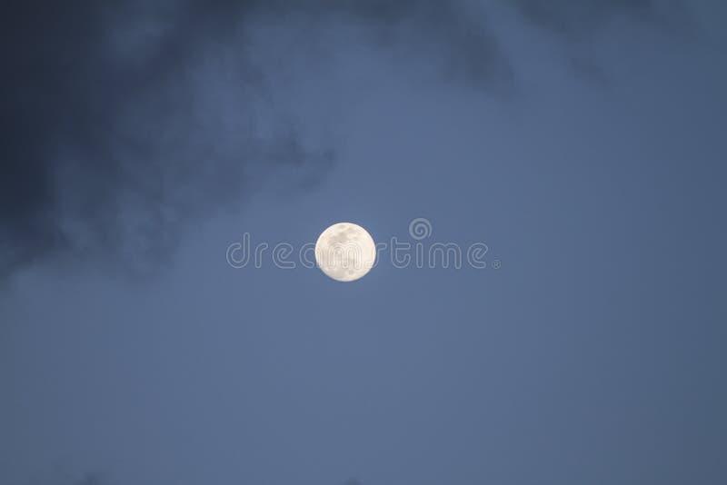 Fullmåne som precis är uppstigen i det mörkt - blå himmel med några gråa moln royaltyfri bild