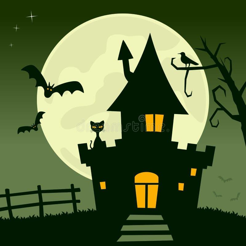 Fullmåne spökat hus stock illustrationer