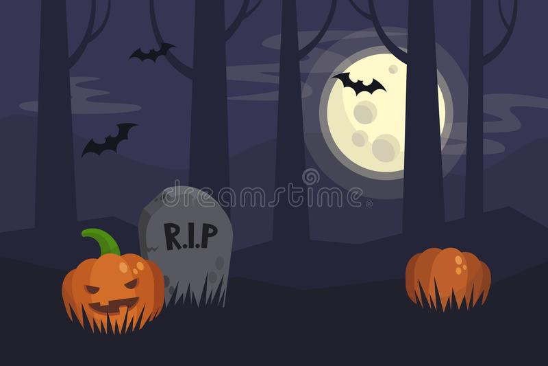 Fullmåneallhelgonaaftonnatt, mörk spöklik kyrkogård och skogbehi royaltyfri illustrationer
