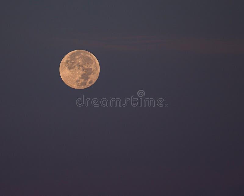 Fullmåneinställningen på indiskt vaggar stranden, Florida arkivbilder