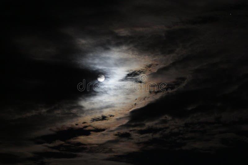 Fullmånen bland moln arkivbild