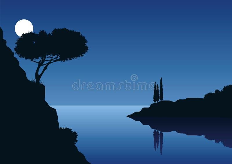 Fullmånenatt med kust- landskap stock illustrationer