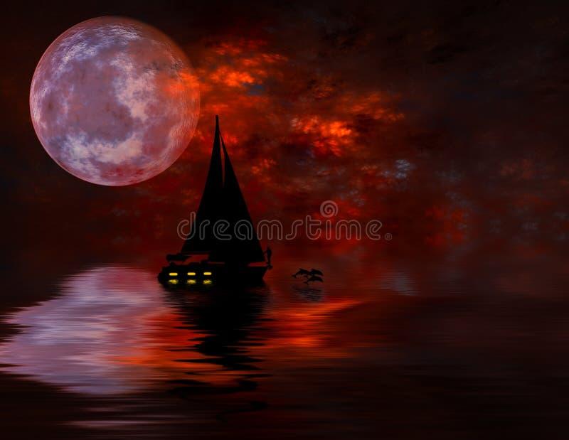 fullmånesegling under stock illustrationer