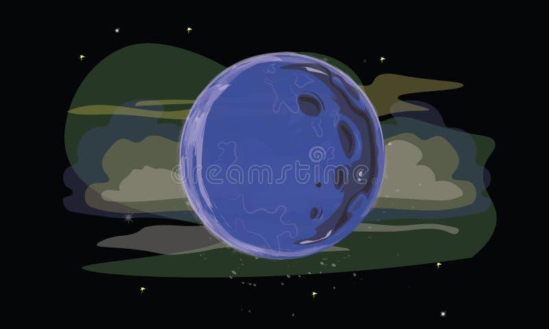 Fullm?nen med krater, stj?rnor och moln i utrymme stock illustrationer