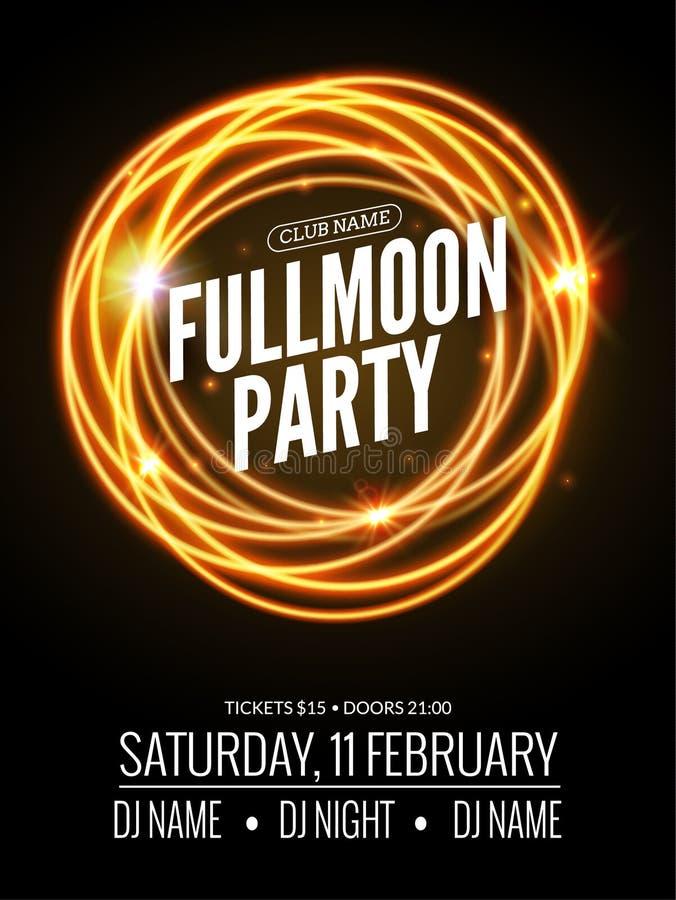 Fullmoon党设计飞行物 迪斯科聚会夜 传染媒介舞蹈海报模板 月光例证 向量例证