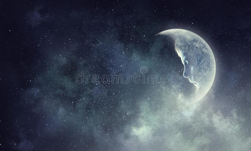 It is fullmoon. Full moon over dark sky with clouds royalty free stock photos