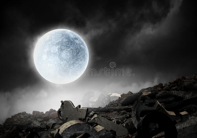 It is fullmoon. Mixed media. Full moon at night sky and stone ruins. Mixed media royalty free stock photo