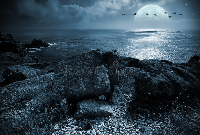 Fullmoon over the ocean royalty free stock images