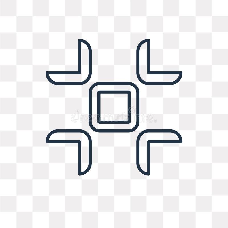 Fullscreen vectordiepictogram op transparante achtergrond, linea wordt geïsoleerd stock illustratie