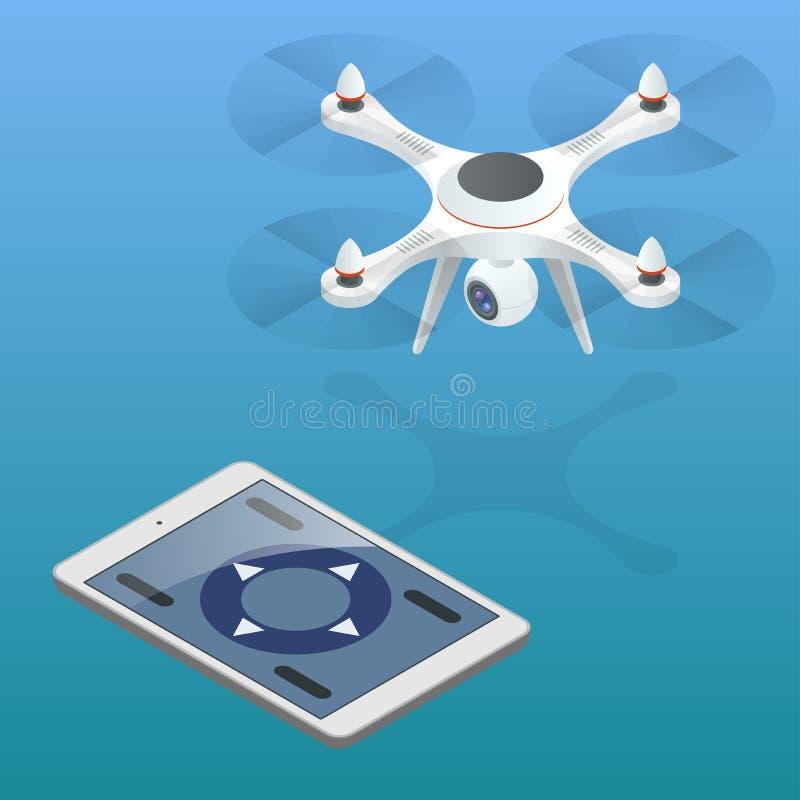 Fullständig kontroll av surret Surr som flygas i en stadsområde Surrflygfotograferingbegrepp Isometriskt surr Surr EPS