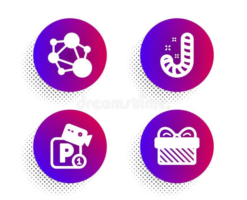 Fullständighet, godis och parkera säkerhetssymbolsuppsättningen G?vatecken Socialt nätverk, Lollypop, videokamera present vektor royaltyfri illustrationer