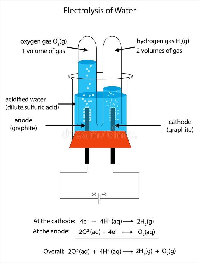 Fullständigt märkt diagram av elektrolysen av vatten royaltyfri illustrationer