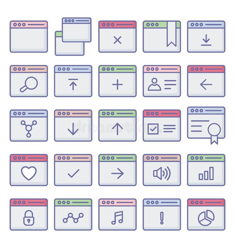 Fullständigt redigerbara symboler släkta rengöringsdukwebbläsarefönster och vektor illustrationer