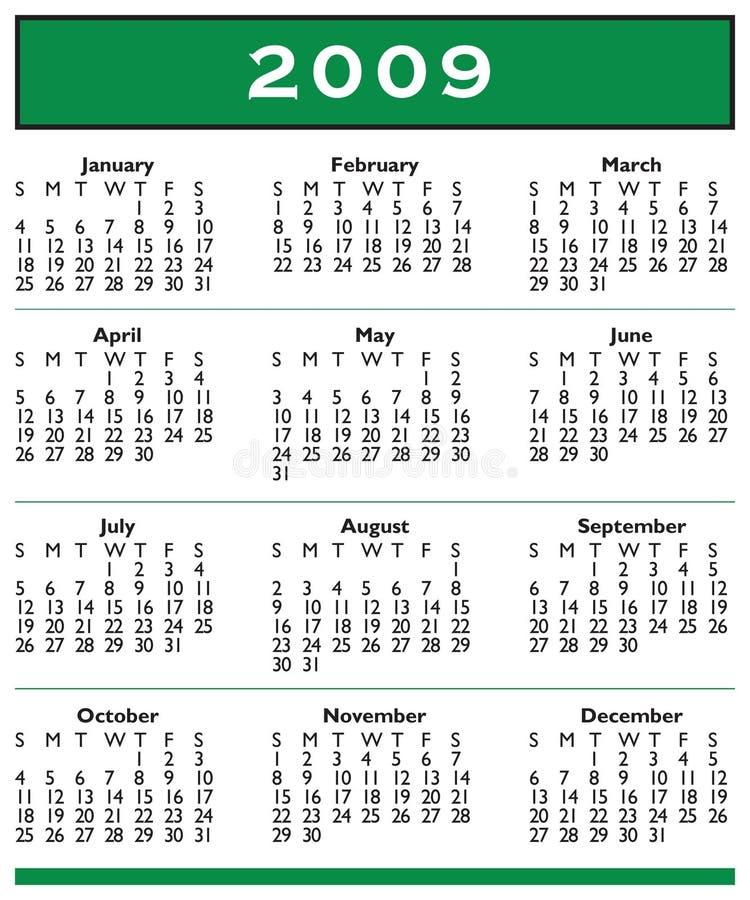 fullt år för 2009 kalender royaltyfri illustrationer