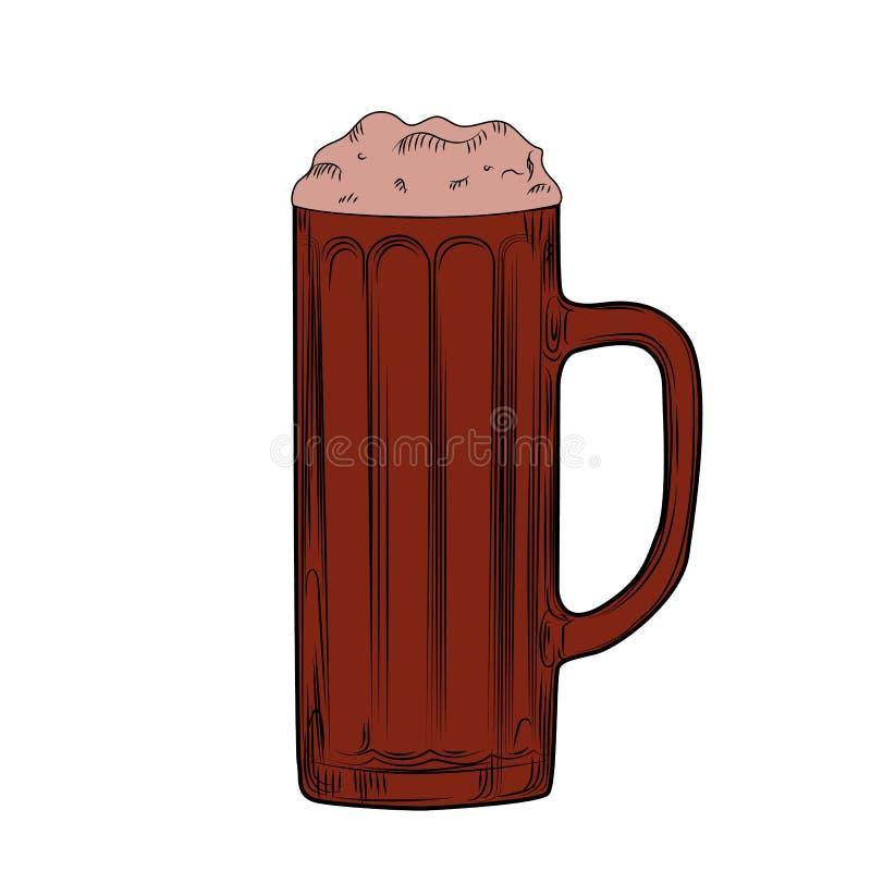 Fullt öl rånar kraftigt med skum Inrista stil tecknad hand royaltyfri illustrationer