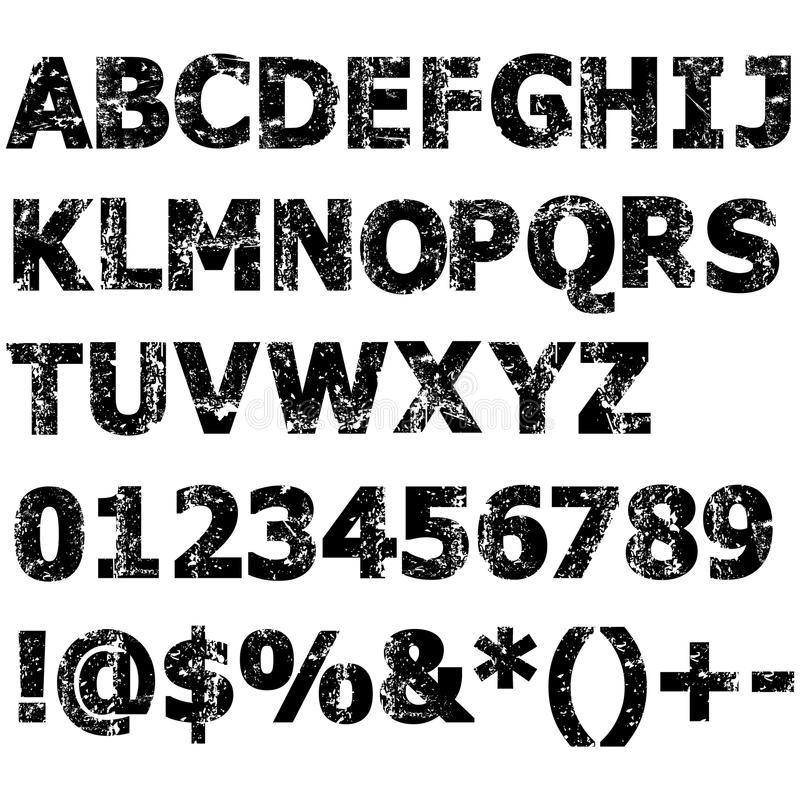 Fullt alfabet för Grunge royaltyfri illustrationer