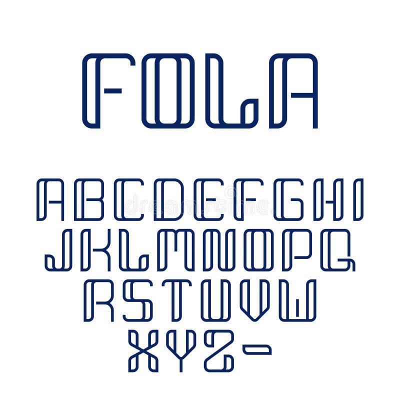 Fullt alfabet för modern geometrisk för vektorabstrakt begrepp härlig för stilsort uppsättning för samling i linjen stil vektor illustrationer