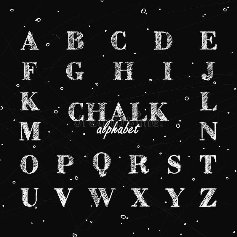 Fullt alfabet i kritastilen på svart tavla stock illustrationer
