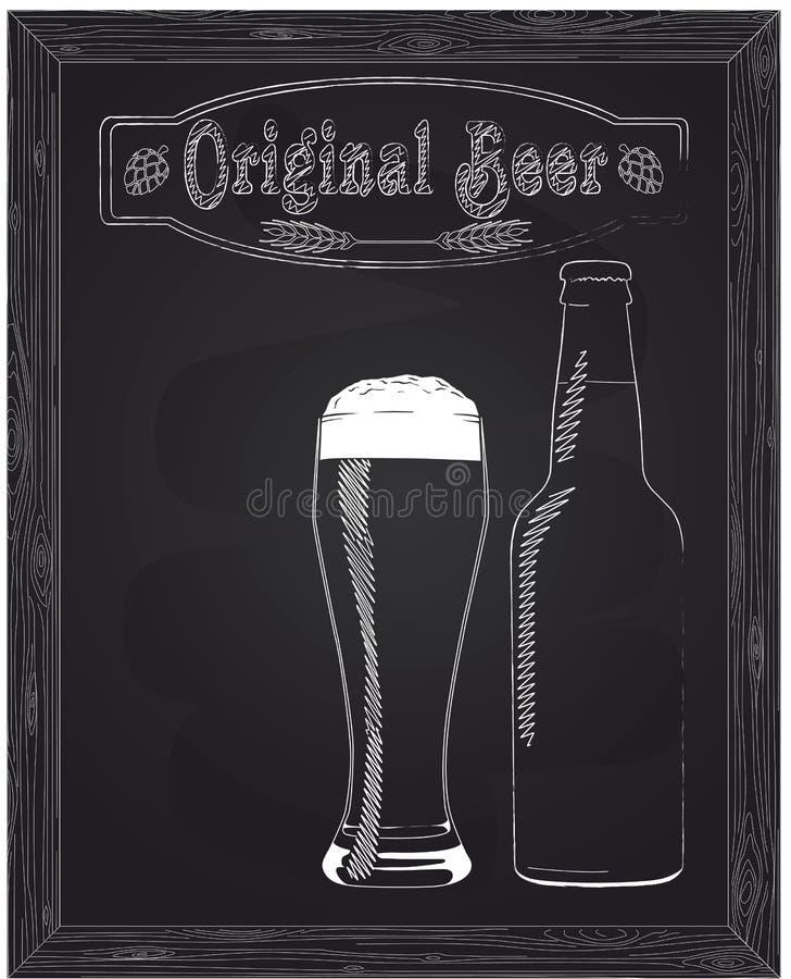 Fullt exponeringsglas med skum och ölflaskan vektor illustrationer