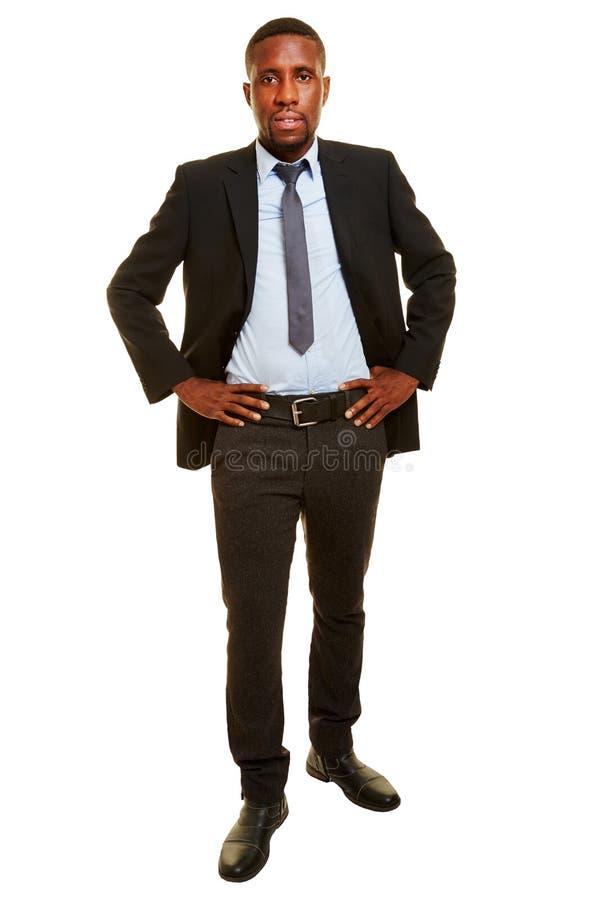 Fullt kroppskott av den svarta affärsmannen royaltyfri bild
