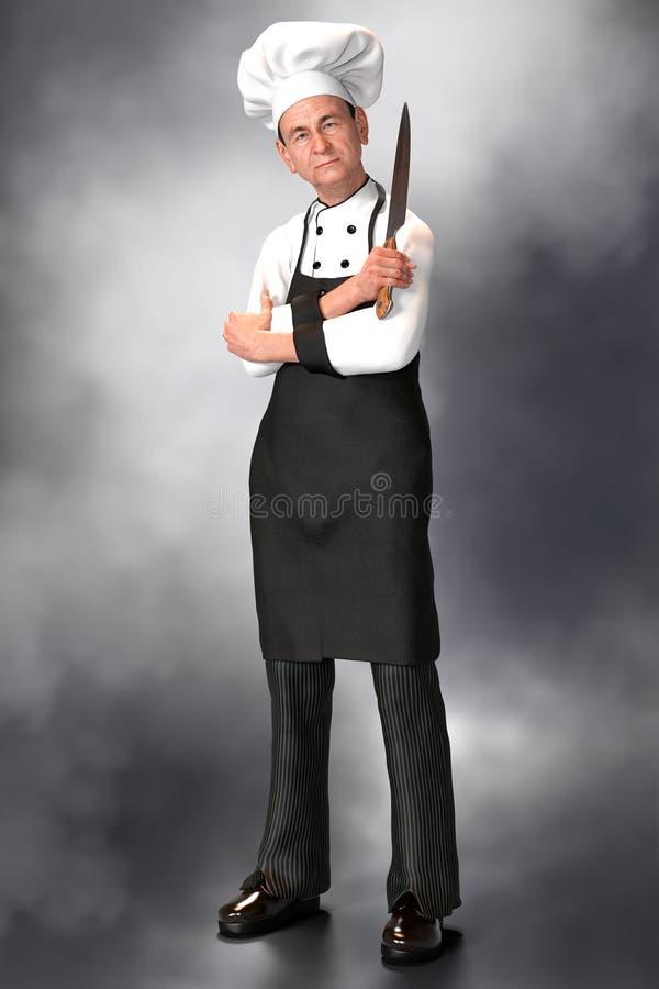 Fullt längddiagram illustration av en kock som rymmer en kniv royaltyfri illustrationer