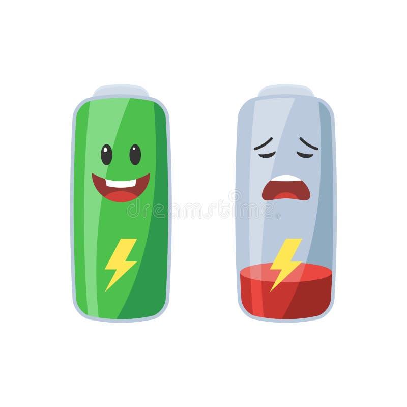 Fullt och lågt batteri vektor illustrationer