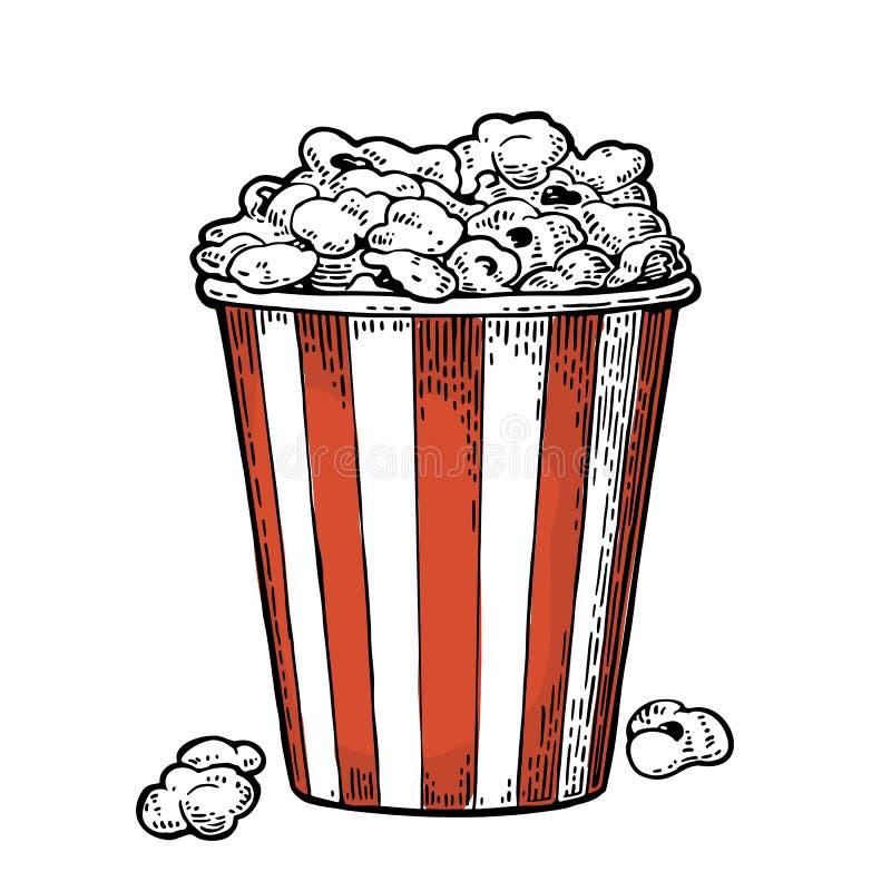 Fullt popcorn för lådahink För tappninggravyr för vektor svart illustration stock illustrationer