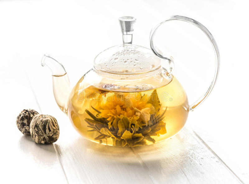 Fully brewed blossoming tea in a pot stock photo