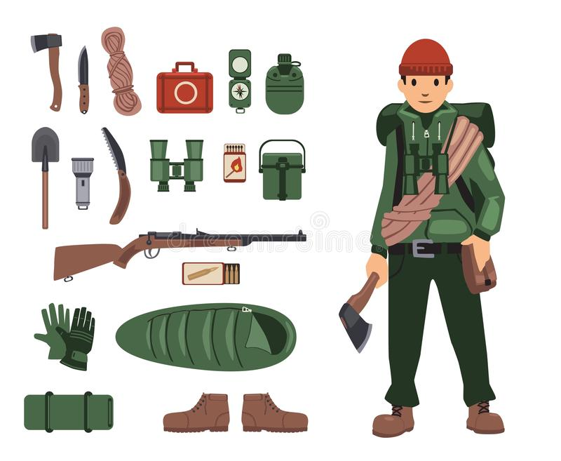 Fully bushcraft-equipped man with isolated bushcraft items nearby. Survival kit in details. Set of isolated images on. White background. Vector illustration royalty free illustration