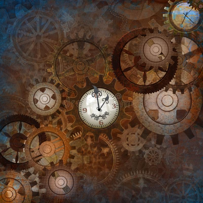 Fully Decorated Steampunk Gears Background stock illustration