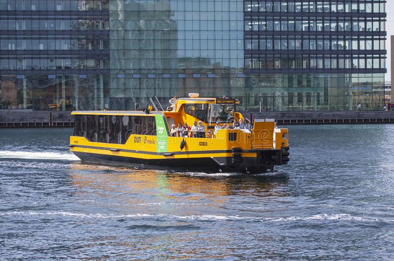 Fully electric water bus ferries are reducing the CO2 pollution from public transportation royalty free stock images