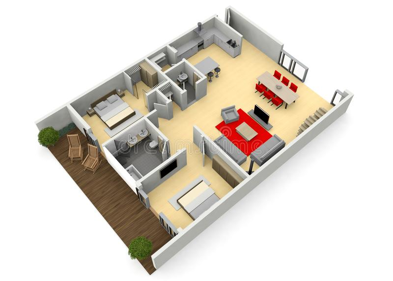 Cgi 3d view of a modern home or apartment royalty free illustration