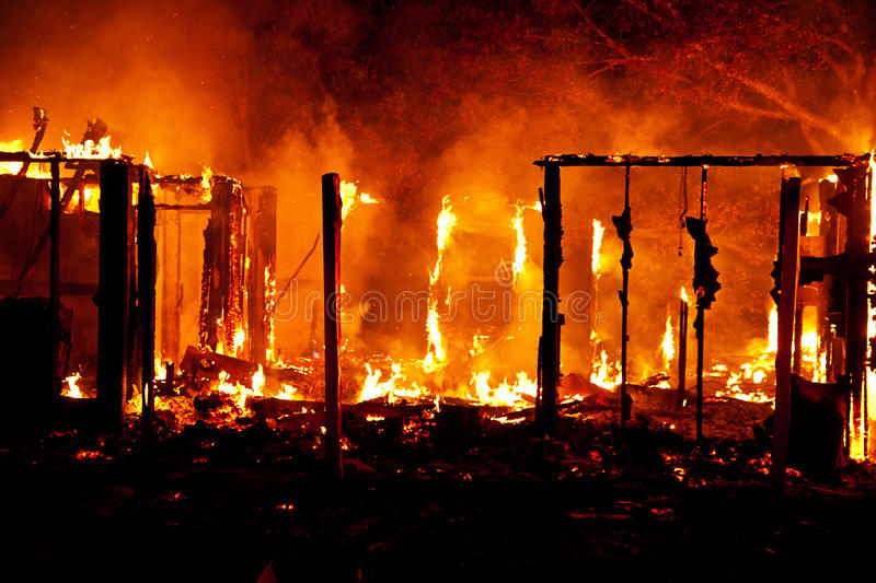 Fully involved house fire stock photo