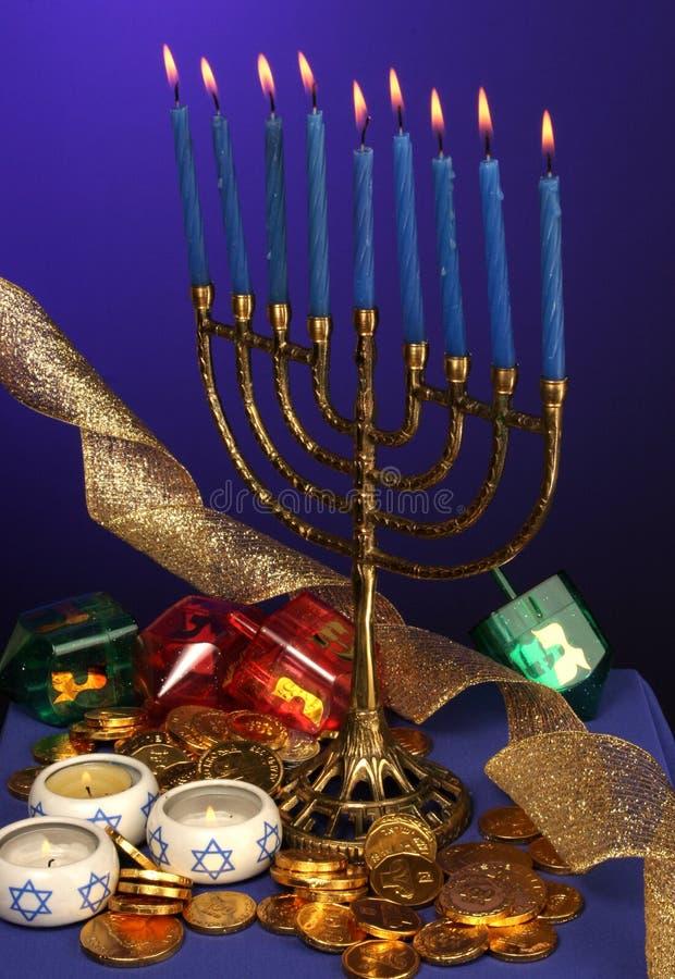 Fully lite Hanukkah menorah royalty free stock image