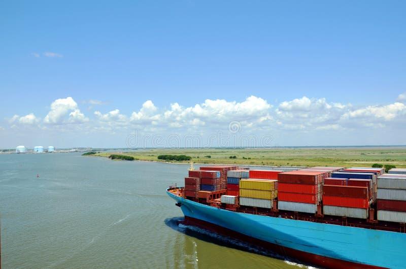 Cargo container ship entering port of Savannah, Georgia. stock image
